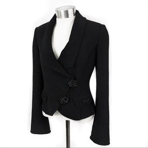 St. John black knit jacket with rhinestone details